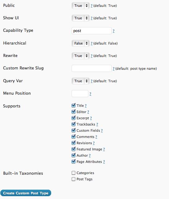 Custom Post Type Advanced Settings